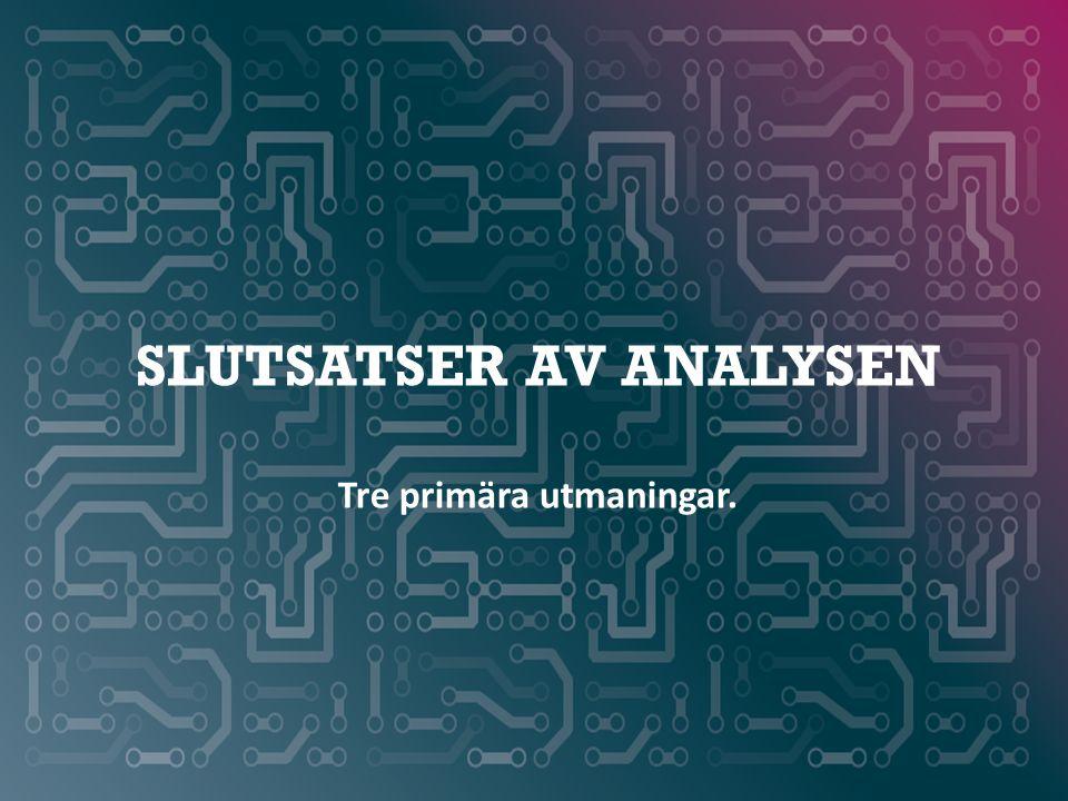 WWW.SMARTAREELEKTRONIKSYSTEM.SE SLUTSATSER AV ANALYSEN Tre primära utmaningar.