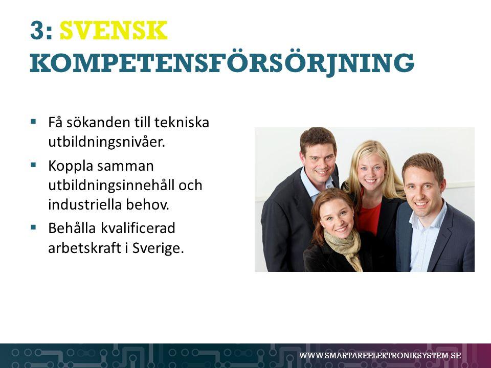 WWW.SMARTAREELEKTRONIKSYSTEM.SE 3: SVENSK KOMPETENSFÖRSÖRJNING  Få sökanden till tekniska utbildningsnivåer.  Koppla samman utbildningsinnehåll och