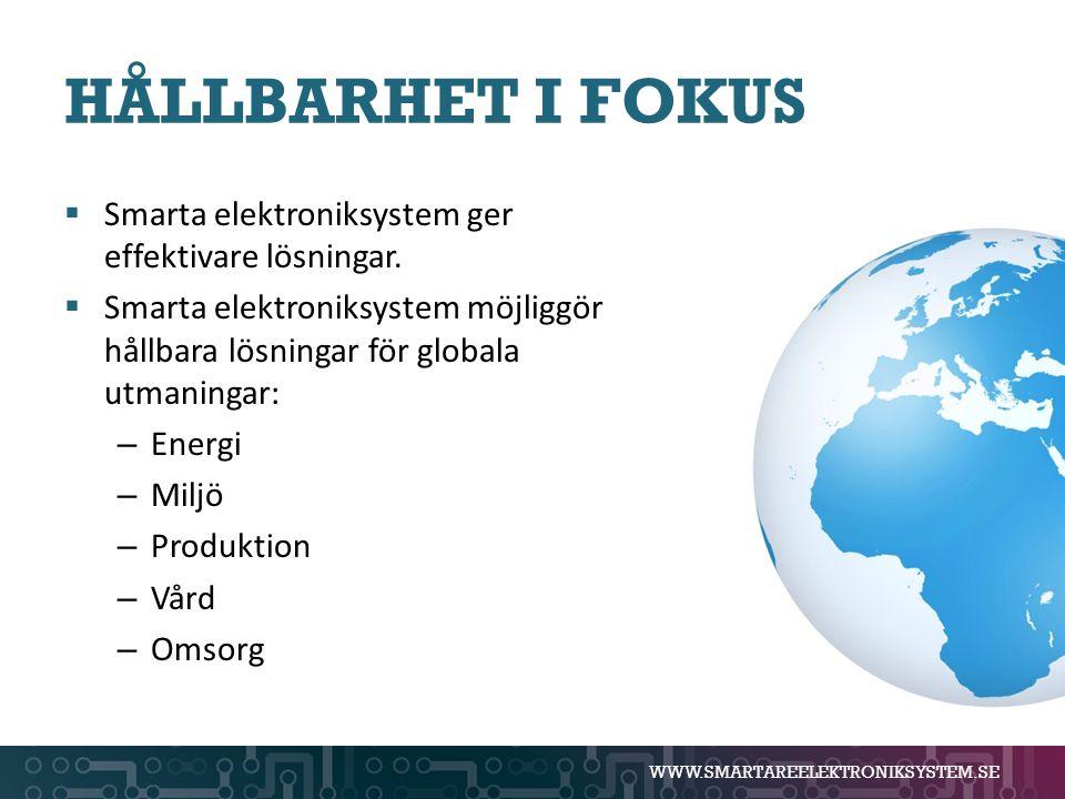 WWW.SMARTAREELEKTRONIKSYSTEM.SE HÅLLBARHET I FOKUS  Smarta elektroniksystem ger effektivare lösningar.  Smarta elektroniksystem möjliggör hållbara l