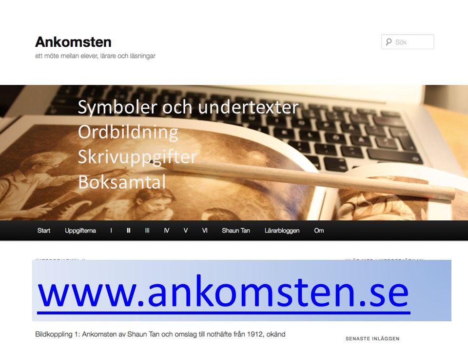 Symboler och undertexter Ordbildning Skrivuppgifter Boksamtal www.ankomsten.se