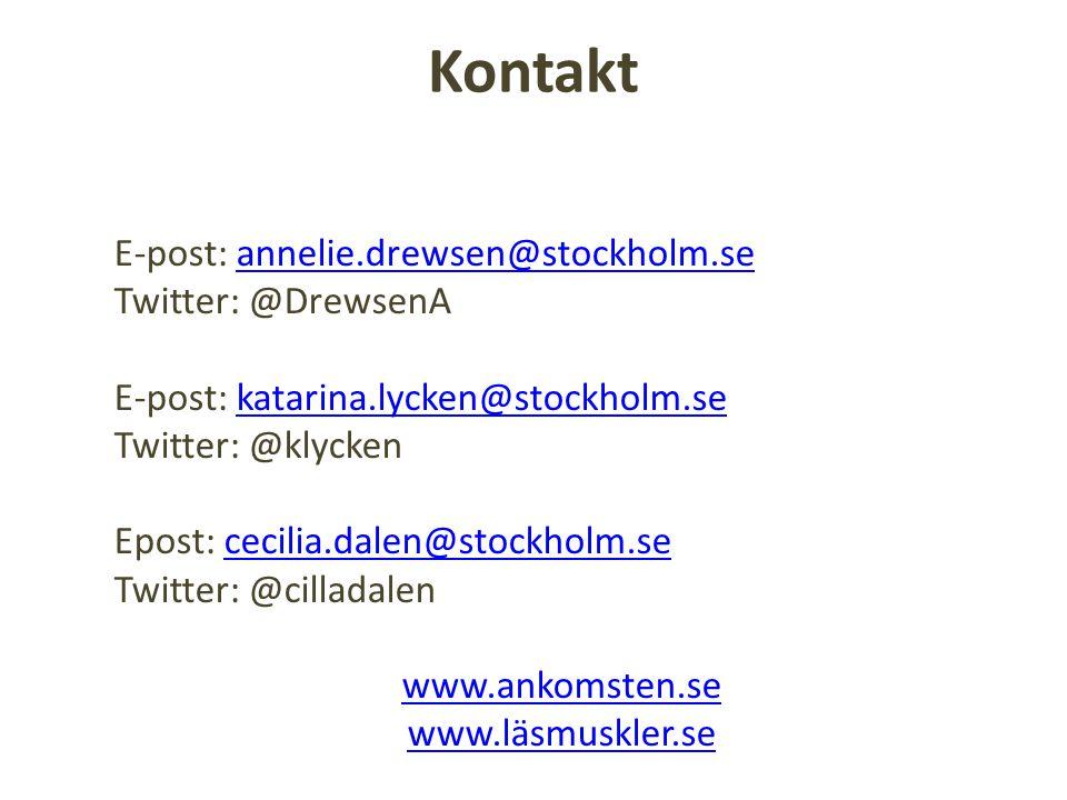 Kontakt E-post: annelie.drewsen@stockholm.seannelie.drewsen@stockholm.se Twitter: @DrewsenA E-post: katarina.lycken@stockholm.sekatarina.lycken@stockh