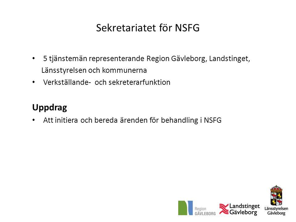 Sekretariatet för NSFG • 5 tjänstemän representerande Region Gävleborg, Landstinget, Länsstyrelsen och kommunerna • Verkställande- och sekreterarfunkt