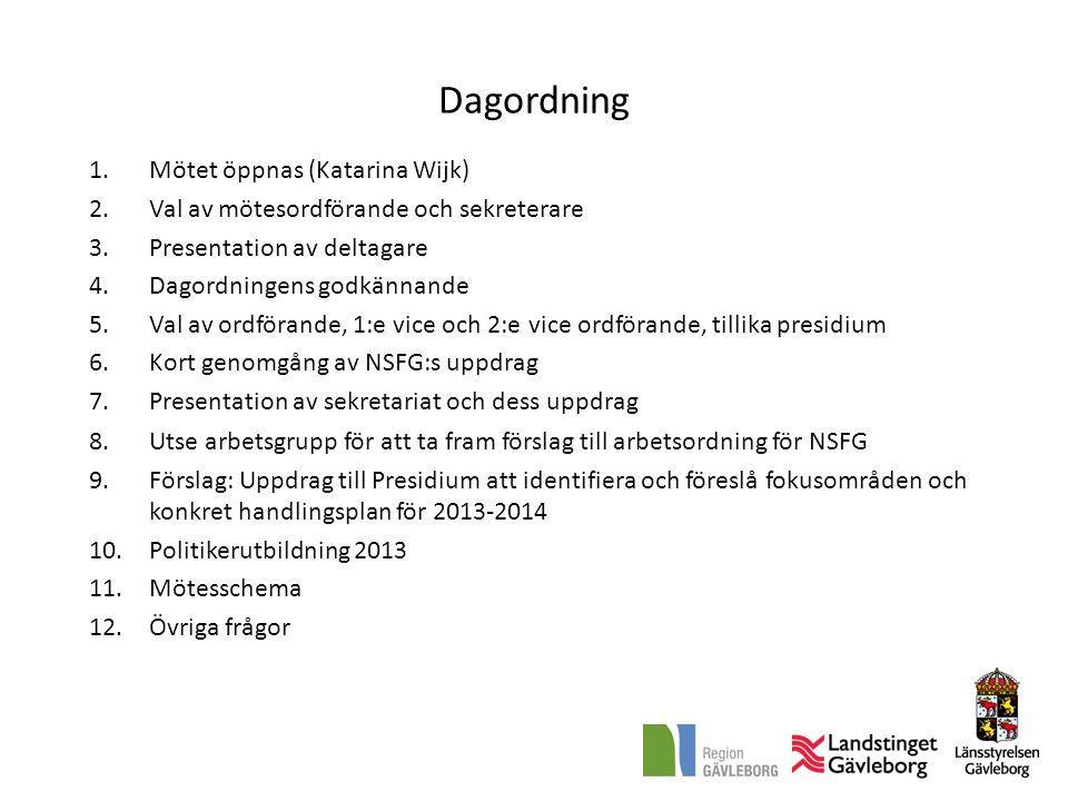 Dagordning 1.Mötet öppnas (Katarina Wijk) 2.Val av mötesordförande och sekreterare 3.Presentation av deltagare 4.Dagordningens godkännande 5.Val av ordförande, 1:e vice och 2:e vice ordförande, tillika presidium 6.Kort genomgång av NSFG:s uppdrag 7.Presentation av sekretariat och dess uppdrag 8.Utse arbetsgrupp för att ta fram förslag till arbetsordning för NSFG 9.Förslag: Uppdrag till Presidium att identifiera och föreslå fokusområden och konkret handlingsplan för 2013-2014 10.Politikerutbildning 2013.