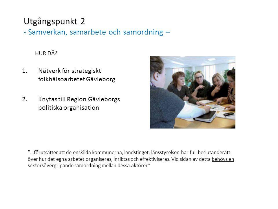 Utgångspunkt 2 - Samverkan, samarbete och samordning – HUR DÅ? 1.Nätverk för strategiskt folkhälsoarbetet Gävleborg 2.Knytas till Region Gävleborgs po