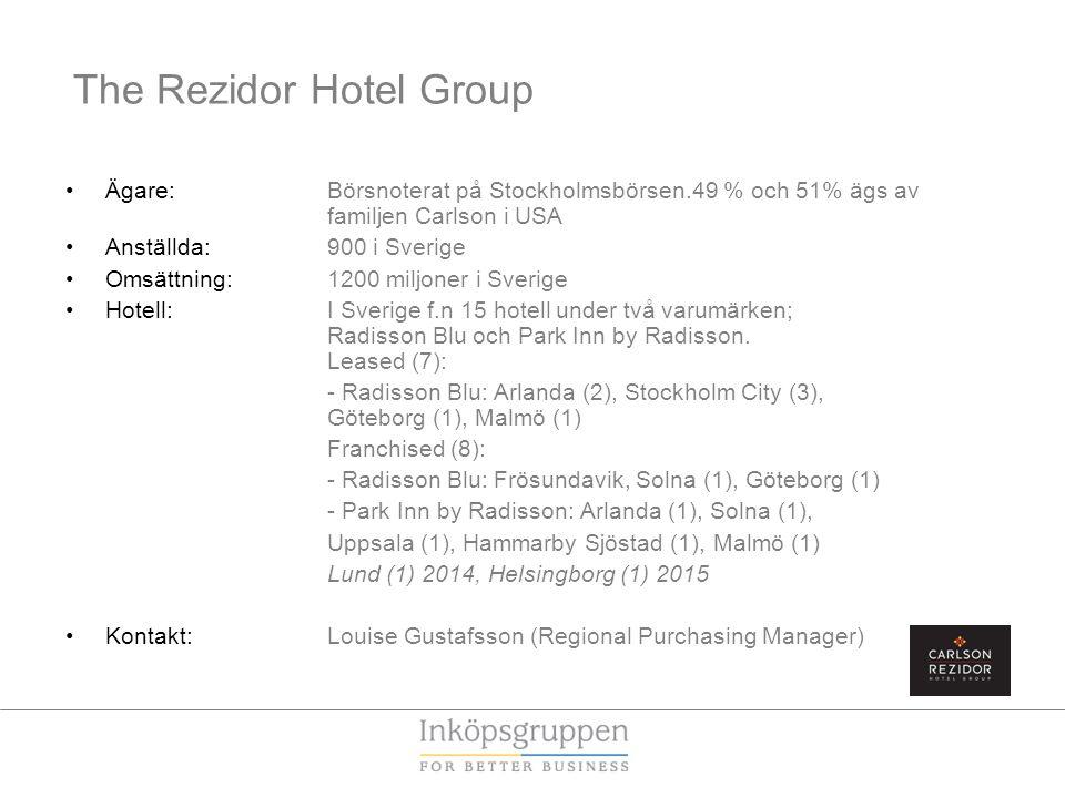 The Rezidor Hotel Group •Ägare: Börsnoterat på Stockholmsbörsen.49 % och 51% ägs av familjen Carlson i USA •Anställda: 900 i Sverige •Omsättning: 1200 miljoner i Sverige •Hotell: I Sverige f.n 15 hotell under två varumärken; Radisson Blu och Park Inn by Radisson.