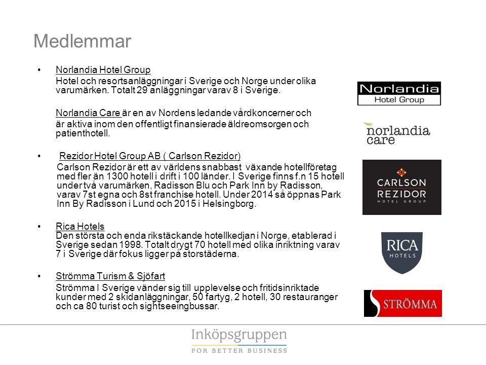 Medlemmar •Norlandia Hotel Group Hotel och resortsanläggningar i Sverige och Norge under olika varumärken. Totalt 29 anläggningar varav 8 i Sverige. N
