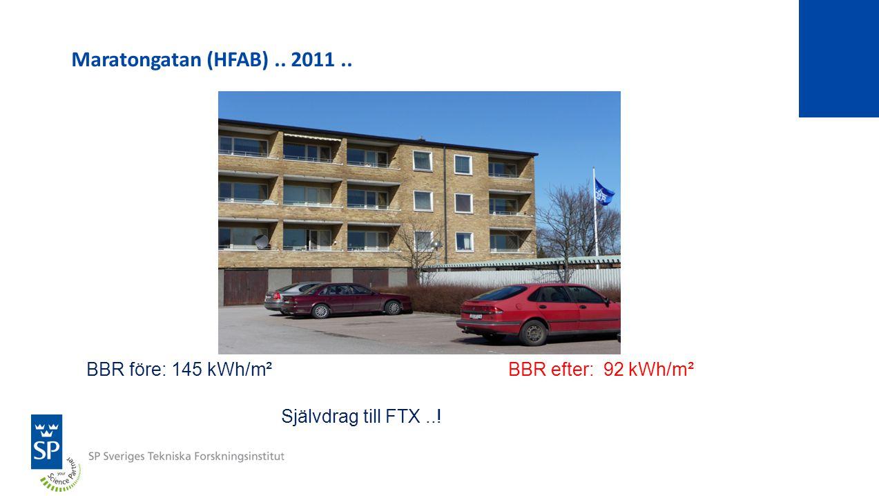 Maratongatan (HFAB).. 2011.. BBR före: 145 kWh/m²BBR efter: 92 kWh/m² Självdrag till FTX..!