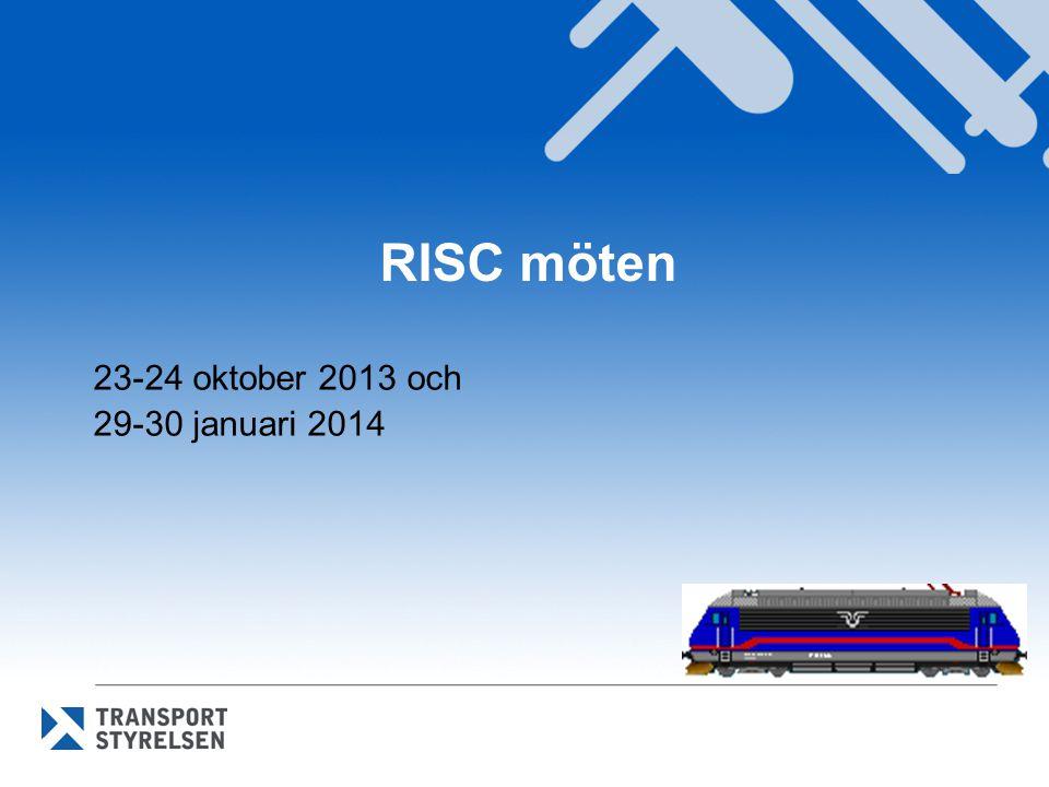RISC 23-24 oktober RISC godkände kommissionens beslut om förordningar mm: • Ny TSD Lok och passagerarfordon Sammanslagning av TSD högh.