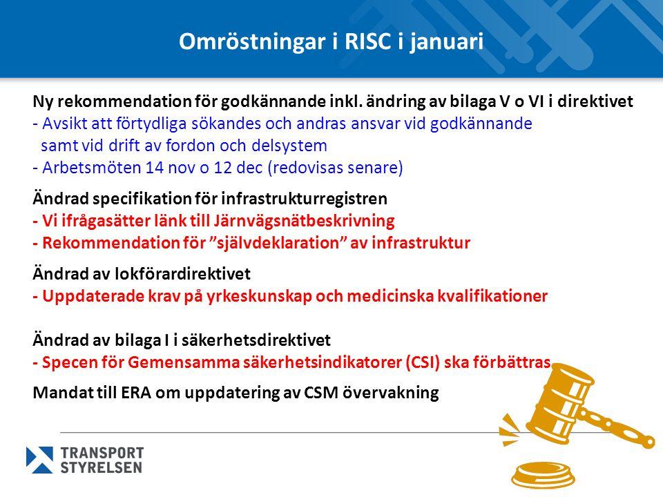 Omröstningar i RISC i januari Ny rekommendation för godkännande inkl.