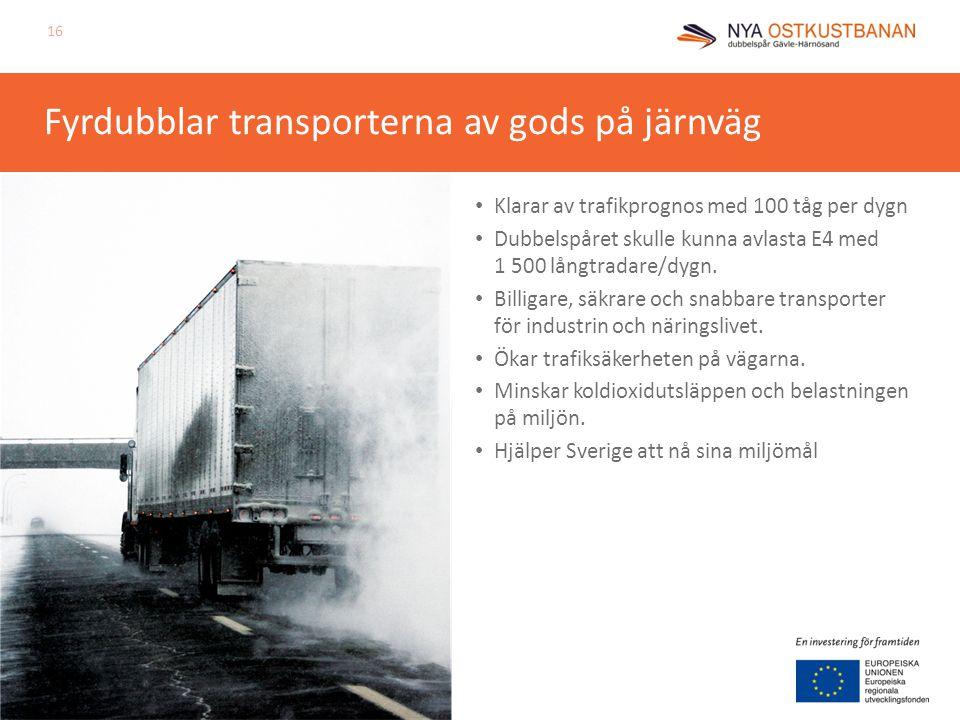 Fyrdubblar transporterna av gods på järnväg • Klarar av trafikprognos med 100 tåg per dygn • Dubbelspåret skulle kunna avlasta E4 med 1 500 långtradare/dygn.