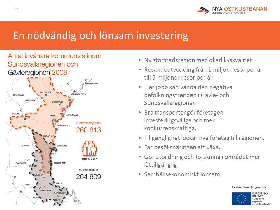En nödvändig och lönsam investering 17 • Ny storstadsregion med ökad livskvalitet • Resandeutveckling från 1 miljon resor per år till 5 miljoner resor per år.