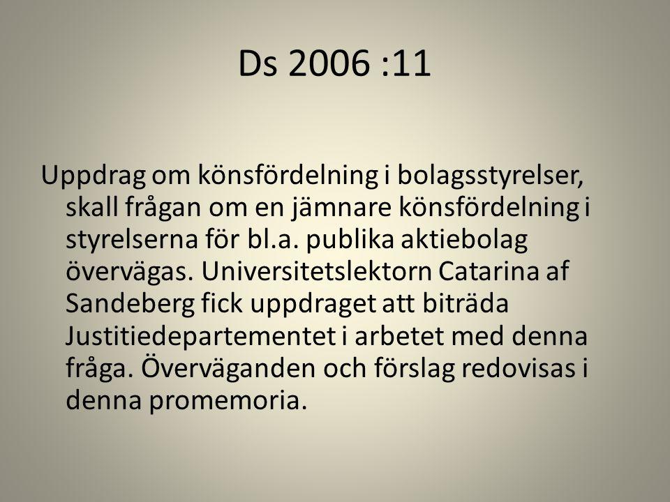 Ds 2006 :11 Uppdrag om könsfördelning i bolagsstyrelser, skall frågan om en jämnare könsfördelning i styrelserna för bl.a. publika aktiebolag överväga