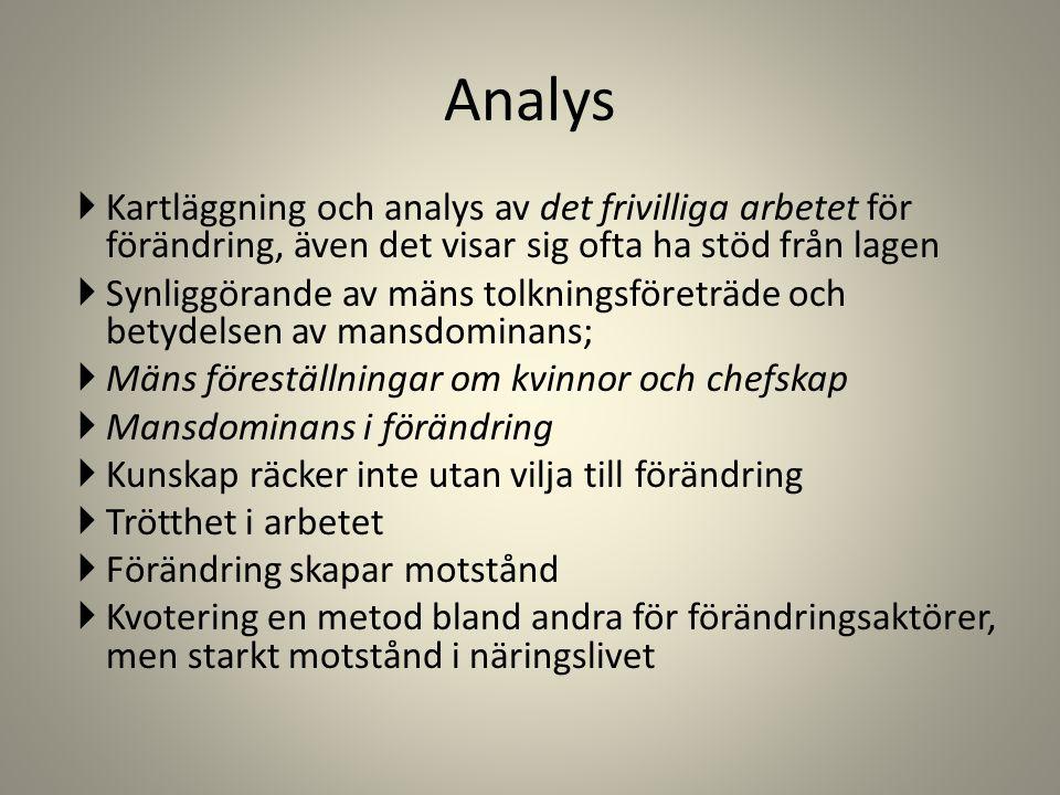 Analys  Kartläggning och analys av det frivilliga arbetet för förändring, även det visar sig ofta ha stöd från lagen  Synliggörande av mäns tolkning