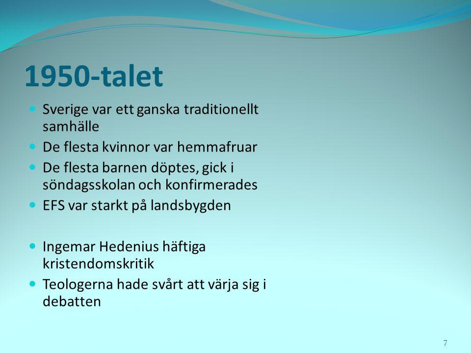 1950-talet  Sverige var ett ganska traditionellt samhälle  De flesta kvinnor var hemmafruar  De flesta barnen döptes, gick i söndagsskolan och konf