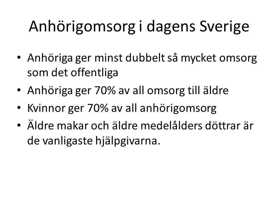 Anhörigomsorg i dagens Sverige • Anhöriga ger minst dubbelt så mycket omsorg som det offentliga • Anhöriga ger 70% av all omsorg till äldre • Kvinnor