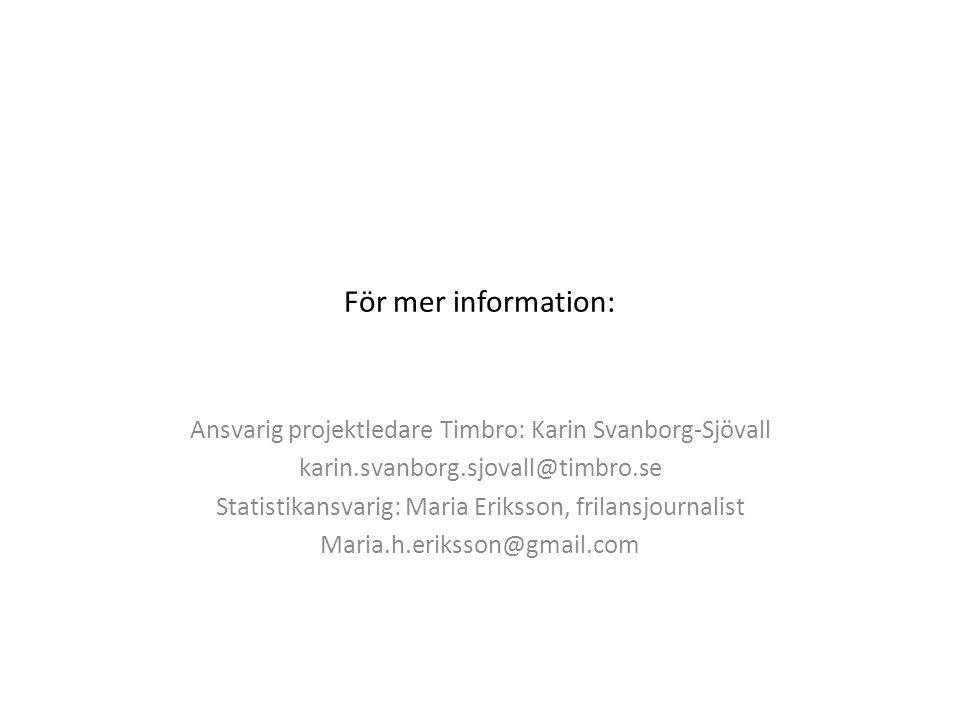 För mer information: Ansvarig projektledare Timbro: Karin Svanborg-Sjövall karin.svanborg.sjovall@timbro.se Statistikansvarig: Maria Eriksson, frilansjournalist Maria.h.eriksson@gmail.com
