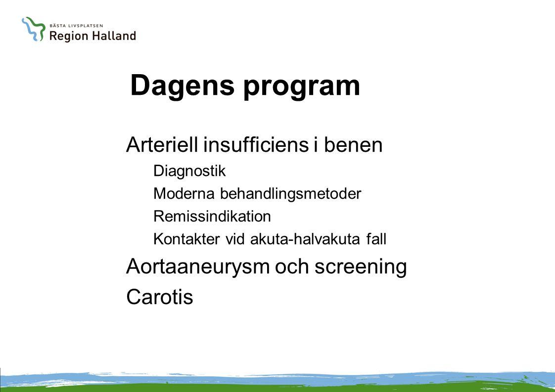 Dagens program Arteriell insufficiens i benen Diagnostik Moderna behandlingsmetoder Remissindikation Kontakter vid akuta-halvakuta fall Aortaaneurysm