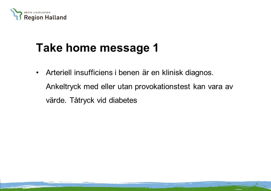 Take home message 1 •Arteriell insufficiens i benen är en klinisk diagnos. Ankeltryck med eller utan provokationstest kan vara av värde. Tåtryck vid d