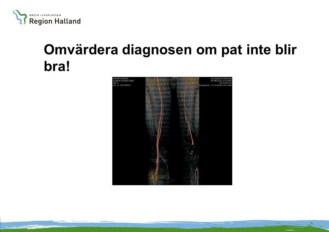 Omvärdera diagnosen om pat inte blir bra!