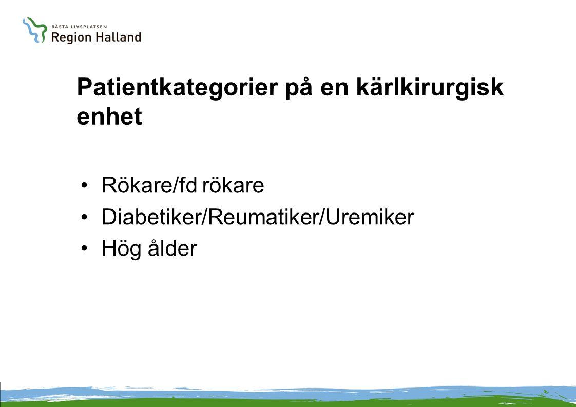 Patientkategorier på en kärlkirurgisk enhet •Rökare/fd rökare •Diabetiker/Reumatiker/Uremiker •Hög ålder