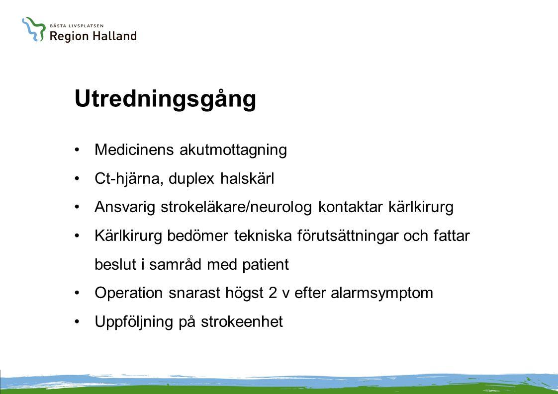 Utredningsgång •Medicinens akutmottagning •Ct-hjärna, duplex halskärl •Ansvarig strokeläkare/neurolog kontaktar kärlkirurg •Kärlkirurg bedömer teknisk