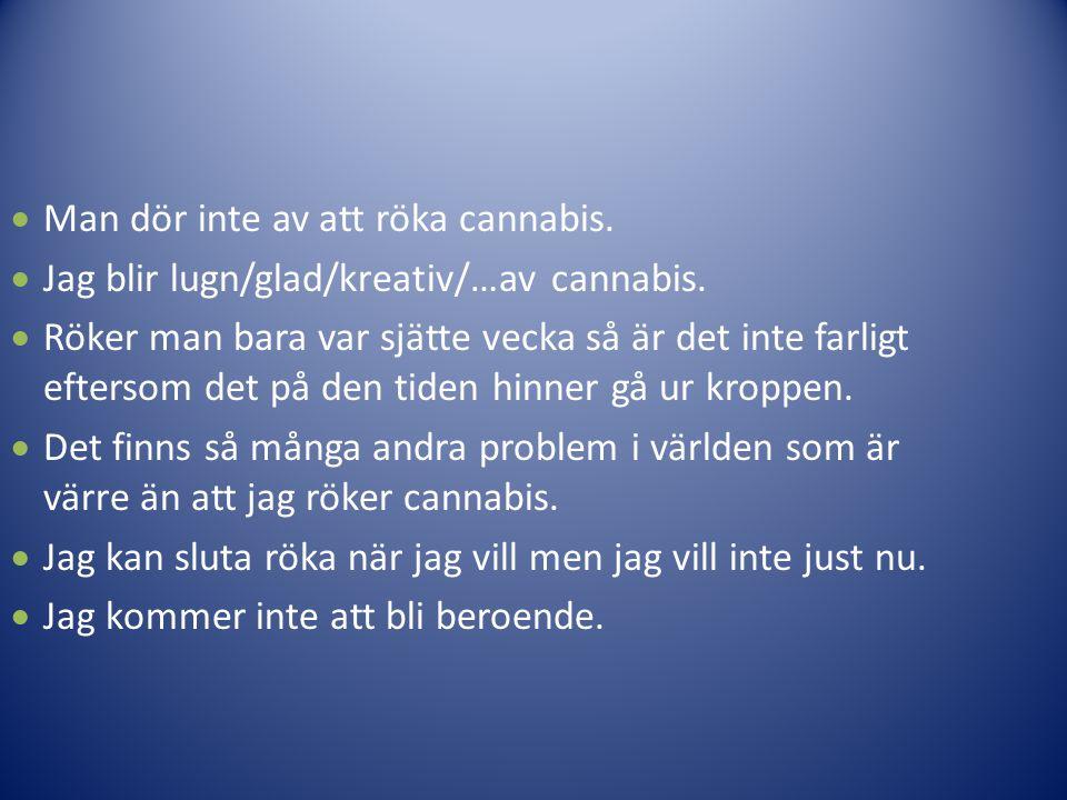  Man dör inte av att röka cannabis.  Jag blir lugn/glad/kreativ/…av cannabis.  Röker man bara var sjätte vecka så är det inte farligt eftersom det
