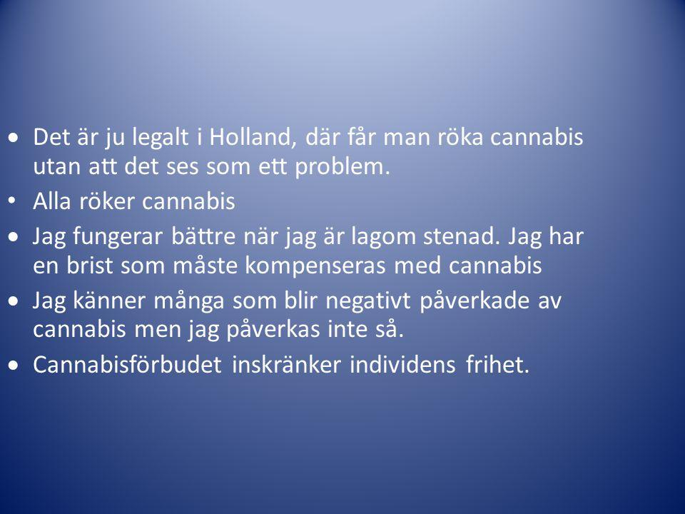  Det är ju legalt i Holland, där får man röka cannabis utan att det ses som ett problem. • Alla röker cannabis  Jag fungerar bättre när jag är lagom