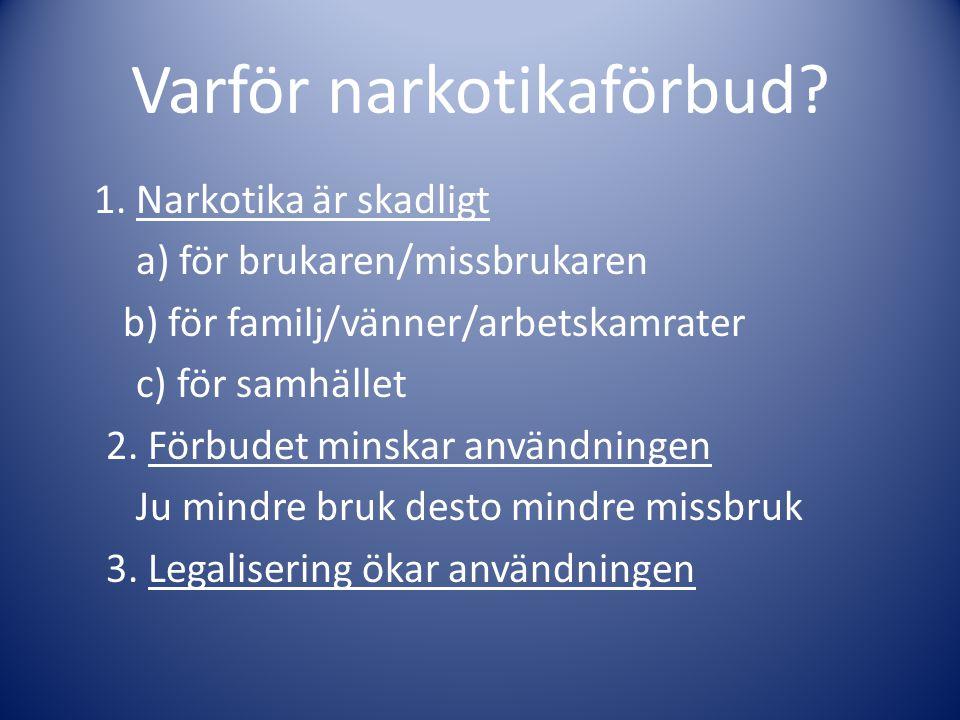 Varför narkotikaförbud? 1. Narkotika är skadligt a) för brukaren/missbrukaren b) för familj/vänner/arbetskamrater c) för samhället 2. Förbudet minskar