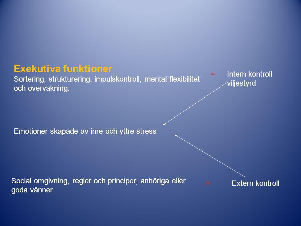 Exekutiva funktioner Sortering, strukturering, impulskontroll, mental flexibilitet och övervakning. Intern kontroll viljestyrd = Social omgivning, reg