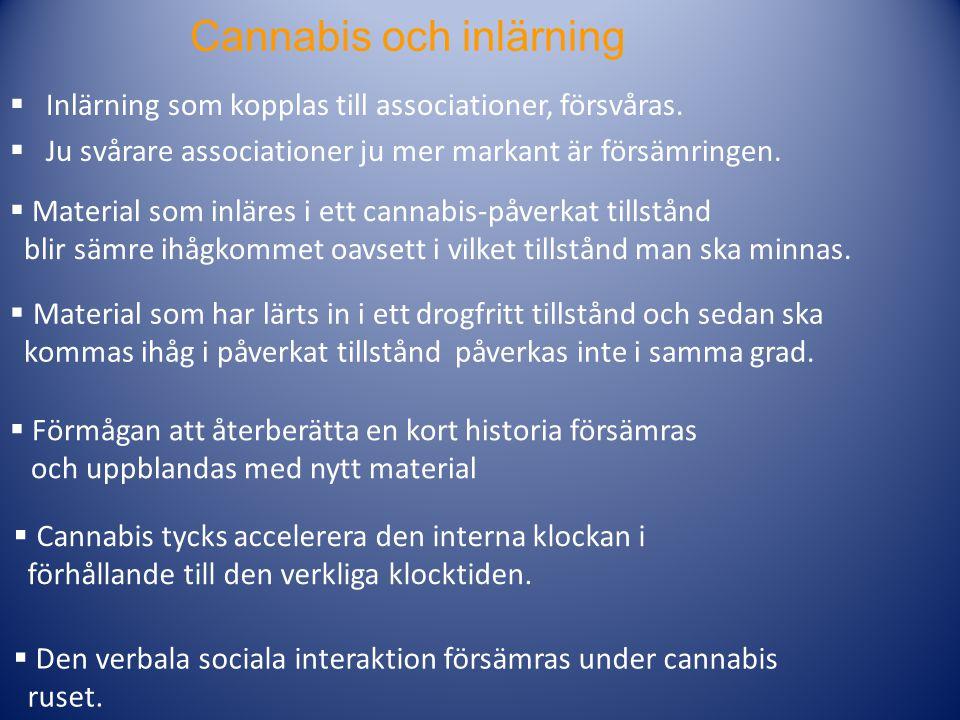Cannabis och inlärning  Inlärning som kopplas till associationer, försvåras.  Ju svårare associationer ju mer markant är försämringen.  Material so