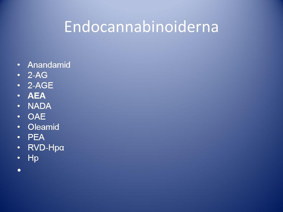 Endocannabinoiderna •Anandamid •2-AG •2-AGE •AEA •NADA •OAE •Oleamid •PEA •RVD-Hpα •Hp •