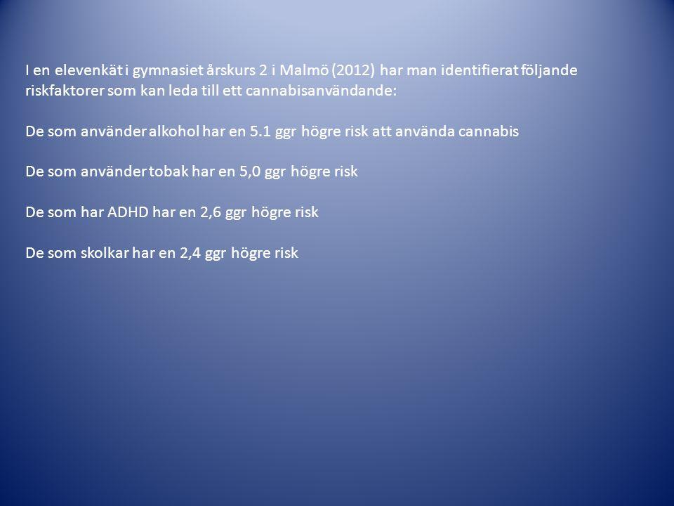 I en elevenkät i gymnasiet årskurs 2 i Malmö (2012) har man identifierat följande riskfaktorer som kan leda till ett cannabisanvändande: De som använd