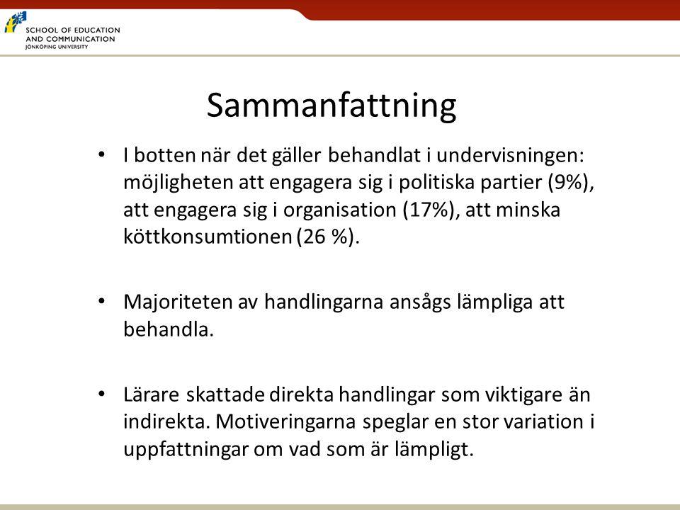 Sammanfattning • I botten när det gäller behandlat i undervisningen: möjligheten att engagera sig i politiska partier (9%), att engagera sig i organis