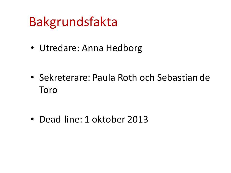Bakgrundsfakta • Utredare: Anna Hedborg • Sekreterare: Paula Roth och Sebastian de Toro • Dead-line: 1 oktober 2013