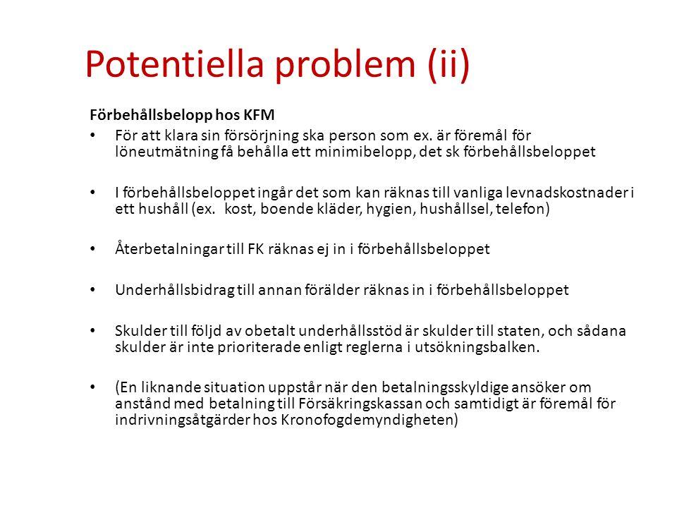 Potentiella problem (ii) Förbehållsbelopp hos KFM • För att klara sin försörjning ska person som ex. är föremål för löneutmätning få behålla ett minim