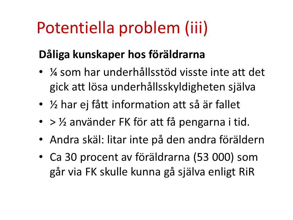 Potentiella problem (iii) Dåliga kunskaper hos föräldrarna • ¼ som har underhållsstöd visste inte att det gick att lösa underhållsskyldigheten själva