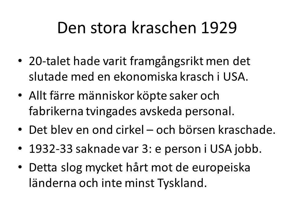 Den stora kraschen 1929 • 20-talet hade varit framgångsrikt men det slutade med en ekonomiska krasch i USA.