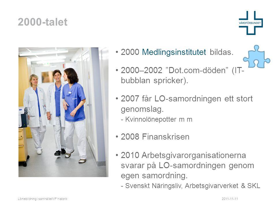 2000-talet •2000 Medlingsinstitutet bildas. •2000–2002 Dot.com-döden (IT- bubblan spricker).