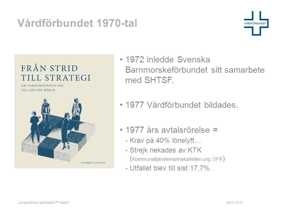 Vårdförbundet 1970-tal •1972 inledde Svenska Barnmorskeförbundet sitt samarbete med SHTSF.