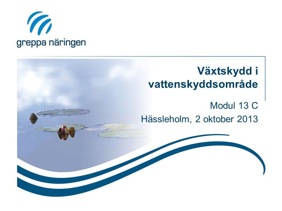 Växtskydd i vattenskyddsområde Modul 13 C Hässleholm, 2 oktober 2013