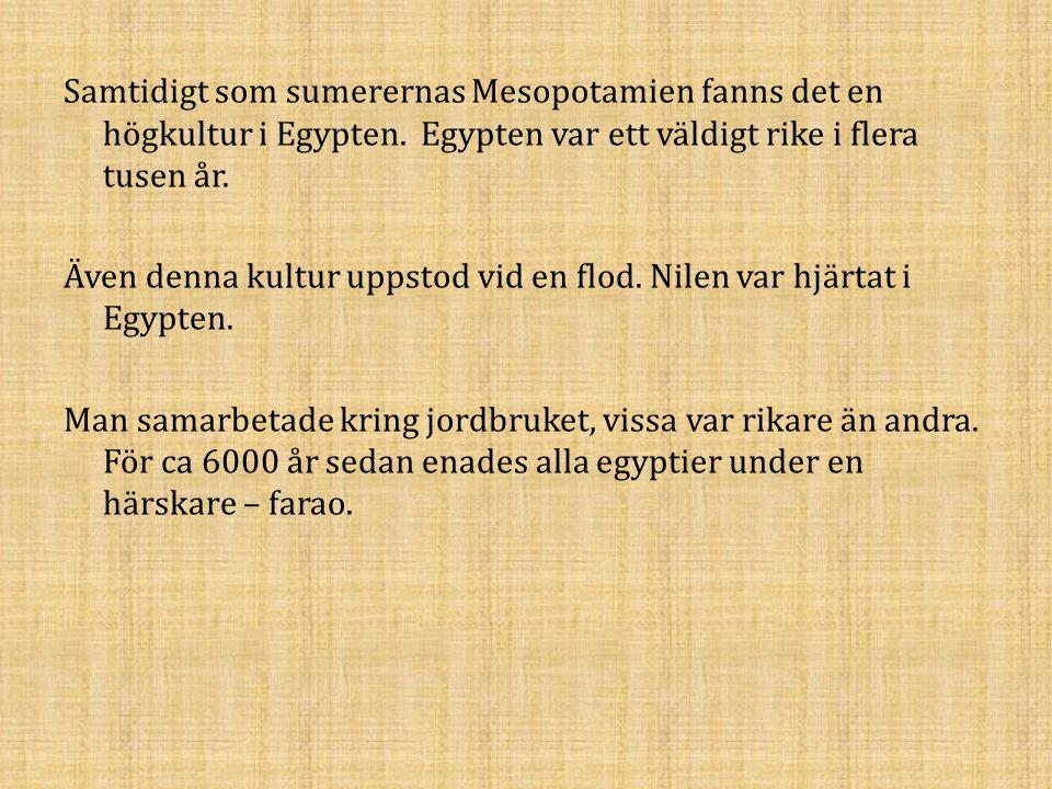Samtidigt som sumerernas Mesopotamien fanns det en högkultur i Egypten. Egypten var ett väldigt rike i flera tusen år. Även denna kultur uppstod vid e