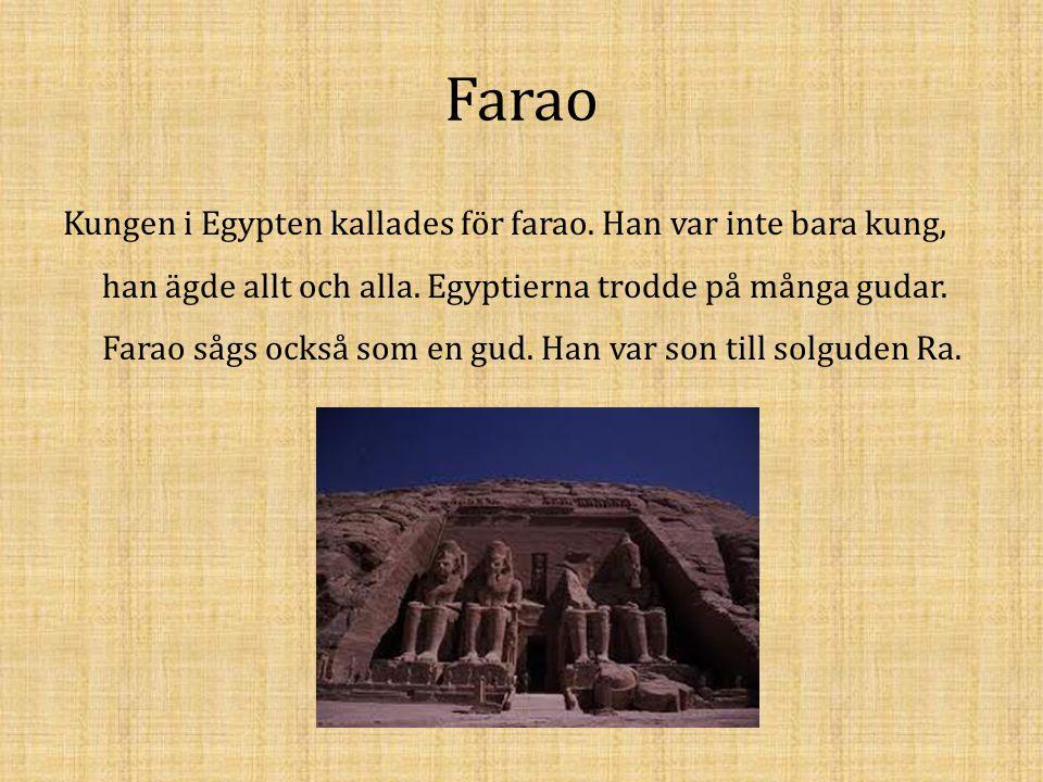 Farao Kungen i Egypten kallades för farao. Han var inte bara kung, han ägde allt och alla. Egyptierna trodde på många gudar. Farao sågs också som en g