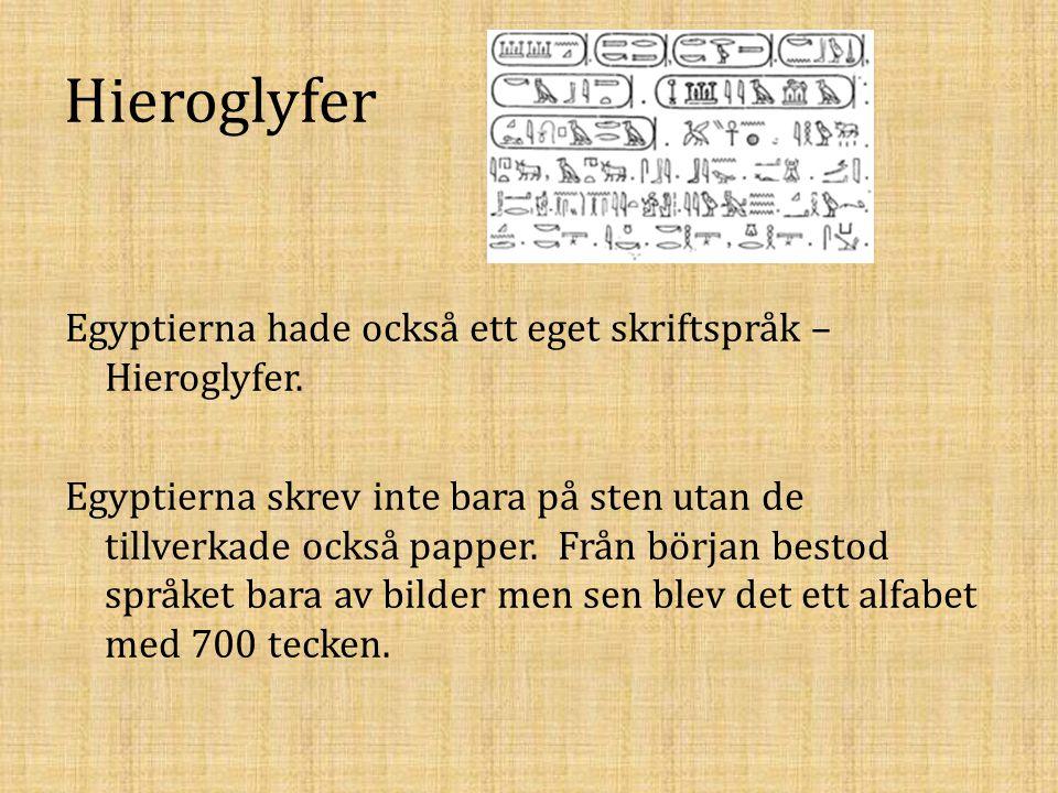 Hieroglyfer Egyptierna hade också ett eget skriftspråk – Hieroglyfer. Egyptierna skrev inte bara på sten utan de tillverkade också papper. Från början