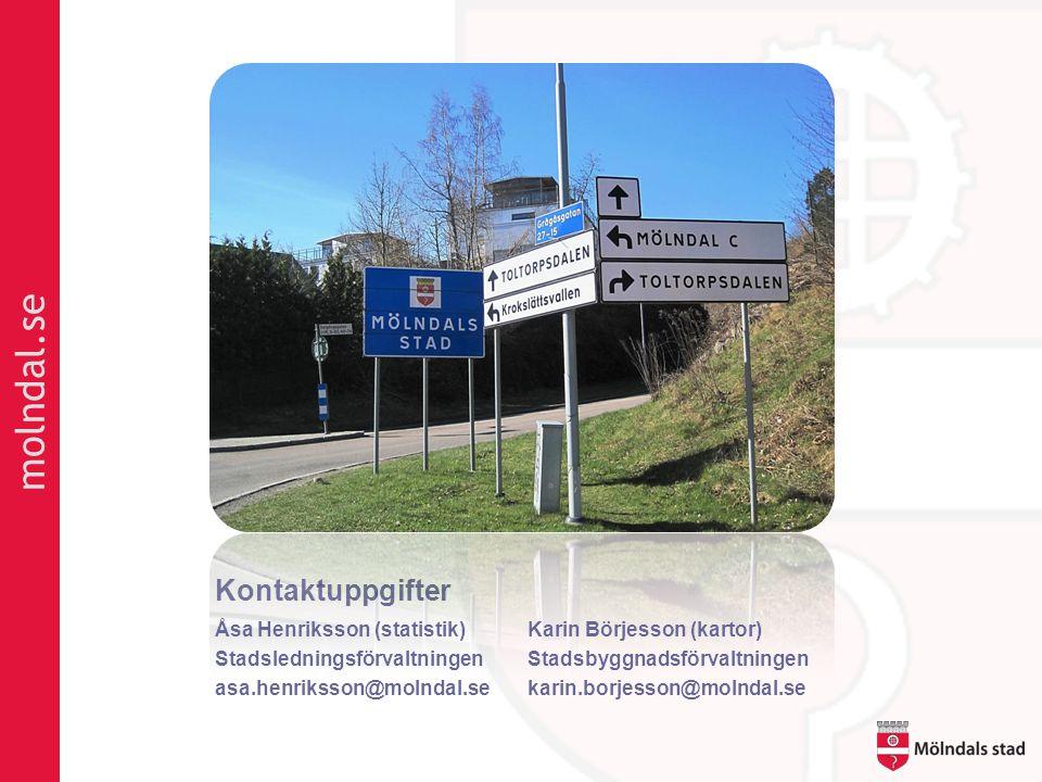 molndal.se Kontaktuppgifter Åsa Henriksson (statistik)Karin Börjesson (kartor) StadsledningsförvaltningenStadsbyggnadsförvaltningen asa.henriksson@molndal.sekarin.borjesson@molndal.se