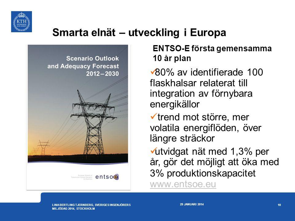 Smarta elnät – utveckling i Europa 29 JANUARI 2014 10 LINA BERTLING TJERNBERG, SVERIGES INGENJÖRERS MILJÖDAG 2014, STOCKHOLM ENTSO-E första gemensamma