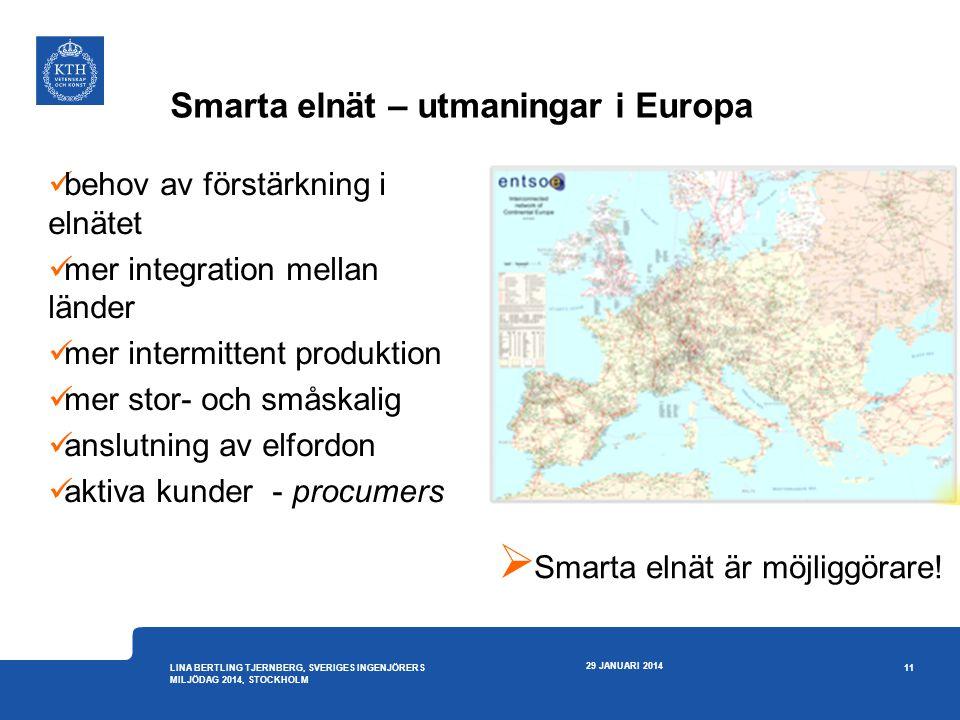 Smarta elnät – utmaningar i Europa 29 JANUARI 2014 11 LINA BERTLING TJERNBERG, SVERIGES INGENJÖRERS MILJÖDAG 2014, STOCKHOLM  behov av förstärkning i