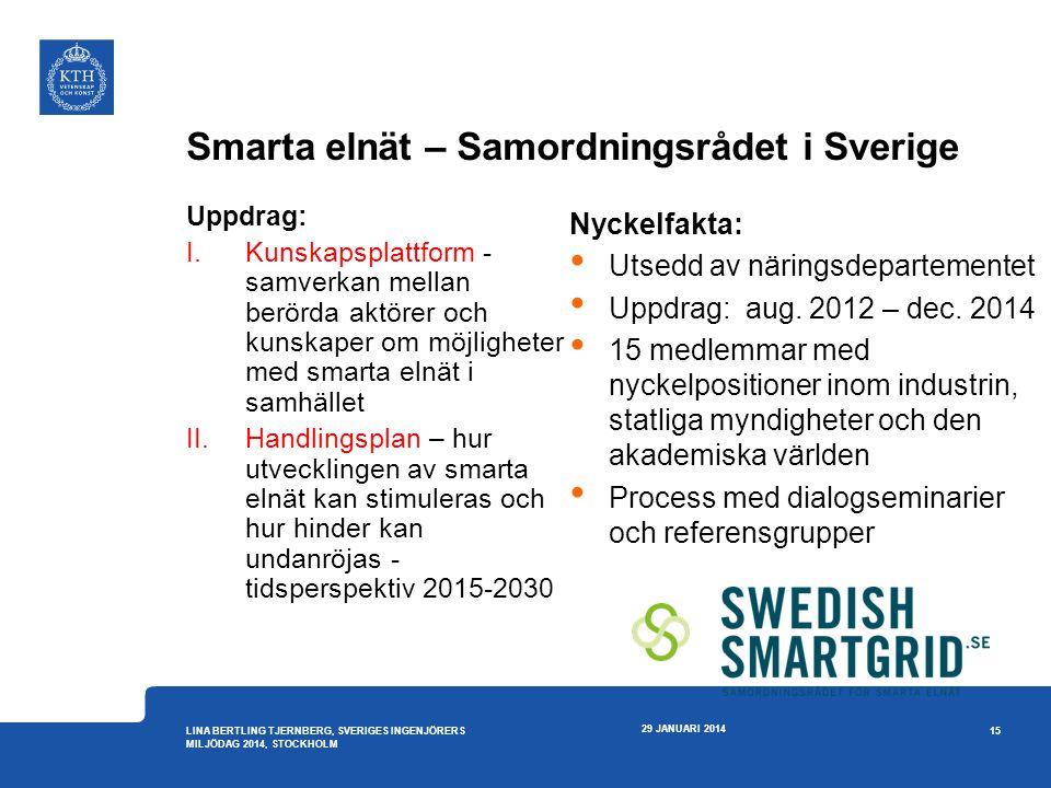 Smarta elnät – Samordningsrådet i Sverige Uppdrag: I.Kunskapsplattform - samverkan mellan berörda aktörer och kunskaper om möjligheter med smarta elnä