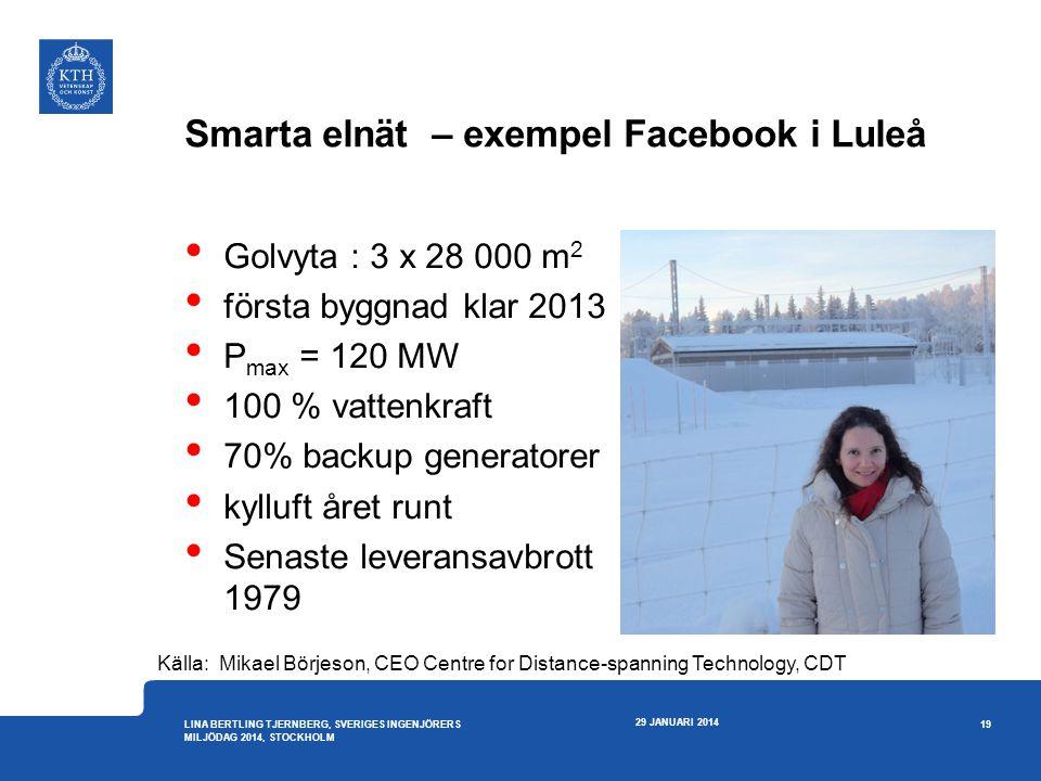 Smarta elnät – exempel Facebook i Luleå • Golvyta : 3 x 28 000 m 2 • första byggnad klar 2013 • P max = 120 MW • 100 % vattenkraft • 70% backup genera