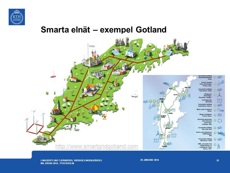 Smarta elnät – exempel Gotland 29 JANUARI 2014 23 LINA BERTLING TJERNBERG, SVERIGES INGENJÖRERS MILJÖDAG 2014, STOCKHOLM http://www.smartgridgotland.c