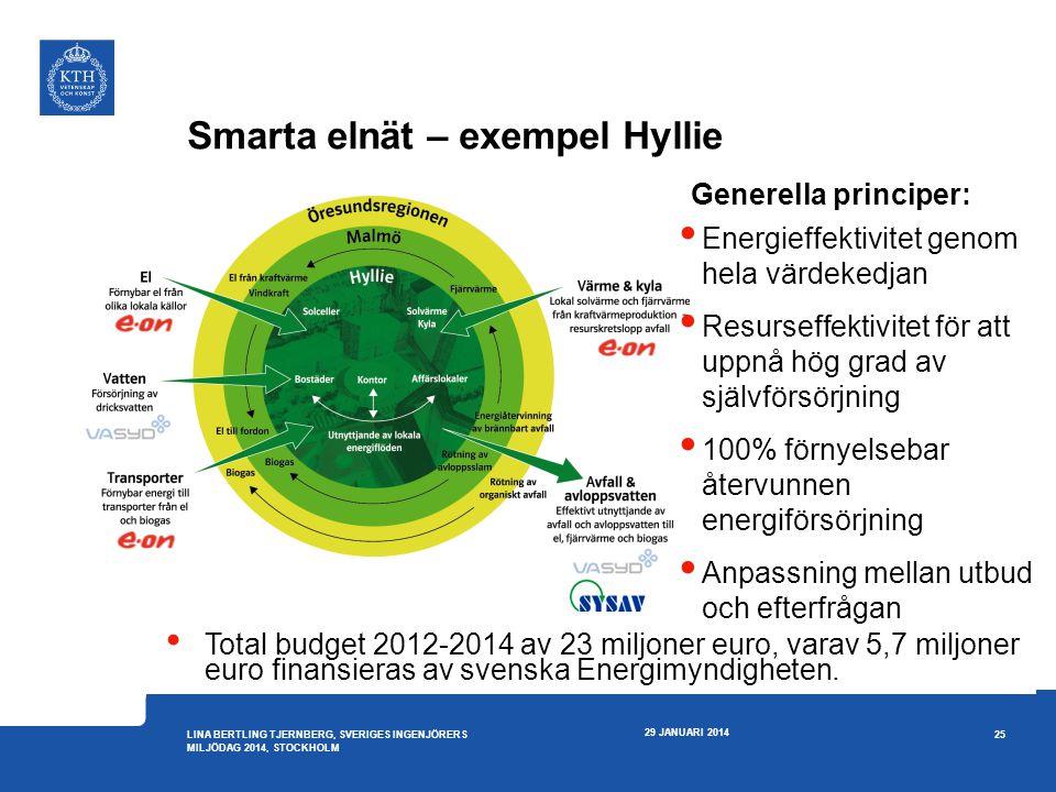 29 JANUARI 2014 25 LINA BERTLING TJERNBERG, SVERIGES INGENJÖRERS MILJÖDAG 2014, STOCKHOLM  Energieffektivitet genom hela värdekedjan  Resurseffektiv